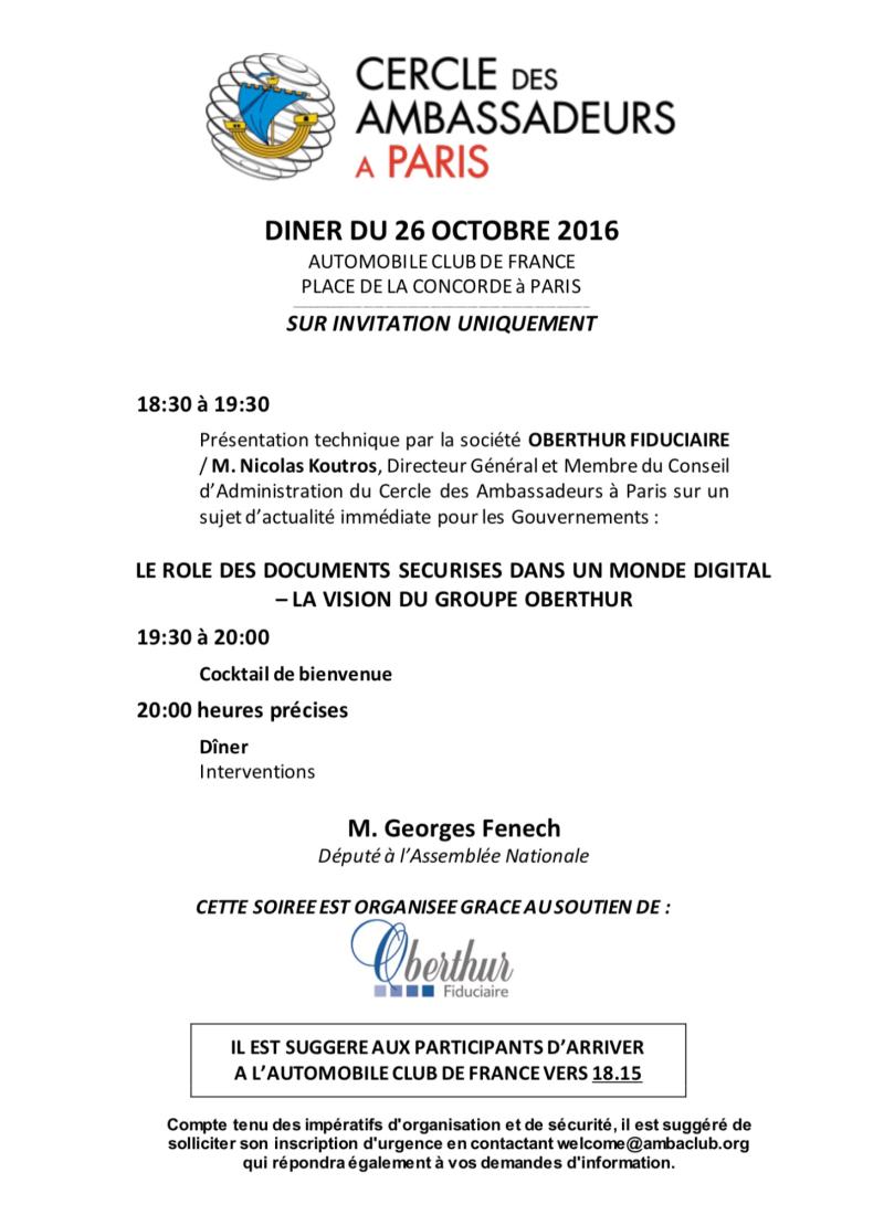 Monaco Ambassadors Club, Cercle des Ambassadeurs à Paris